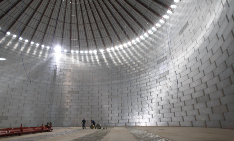 Inside a huge grain bin in Elgin, MN